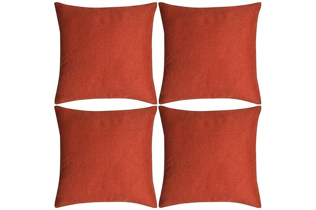 Tyynynpäällinen Pellavatyylinen Terrakotta 4kpl 40x40 cm - Oranssi - Sisustustuotteet - Kodintekstiilit - Tyynynpäälliset