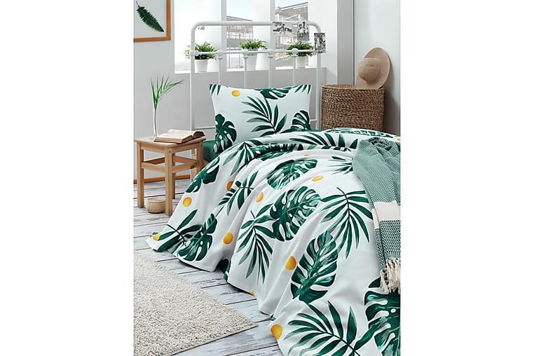 Päiväpeite EnLora Home 160x235 cm - Valkoinen/Vihreä/Keltainen - Sisustustuotteet - Kodintekstiilit - Vuodevaatteet