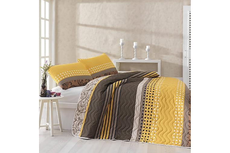 Päiväpeite Eponj Home Yhden 160x220+ tyynyliina Tikattu - Keltainen/Ruskea/Beige/Valk - Sisustustuotteet - Kodintekstiilit - Vuodevaatteet