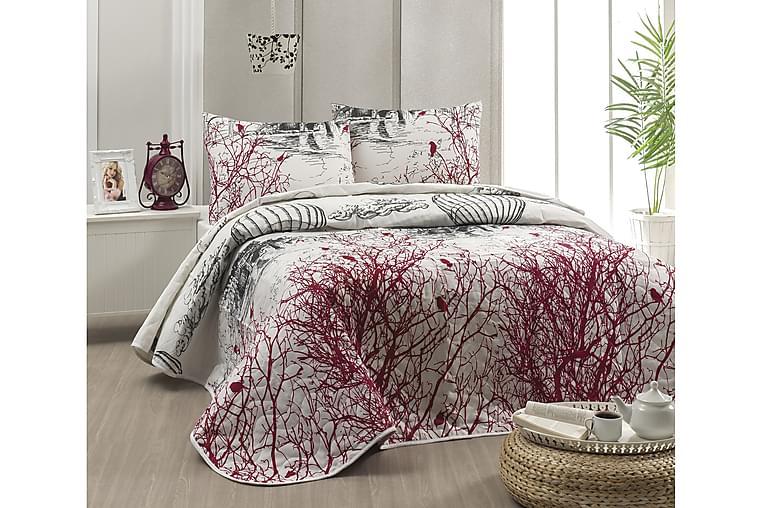 Päiväpeite Eponj Home Yhden 160x220+ tyynyliina Tikattu - Valkoinen/Musta/Punainen - Sisustustuotteet - Kodintekstiilit - Vuodevaatteet