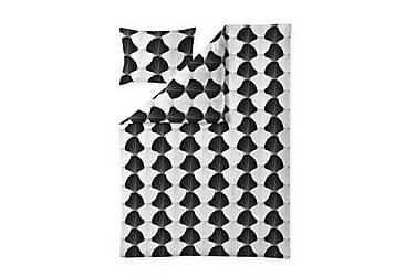 Pussilakanasetti Aurora, 150x210+50x60cm, valkoinen/musta