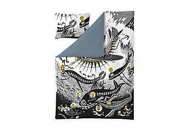 Pussilakanasetti Muumi Meren huiske 150x210 cm Musta/valk