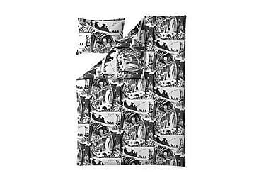 Pussilakanasetti Seikkailumuumi 150x210 cm Musta/valkoinen
