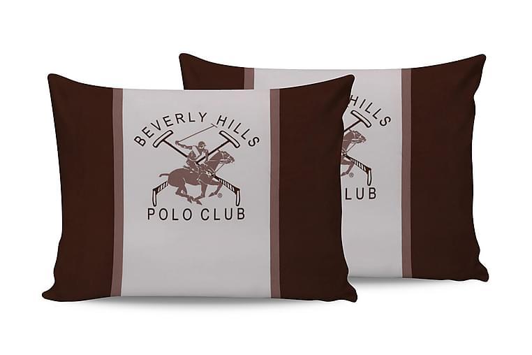 Tyynyliina Beverly Hills Polo Club 50x70 cm 2-pak - Valkoinen/Ruskea - Sisustustuotteet - Kodintekstiilit - Vuodevaatteet