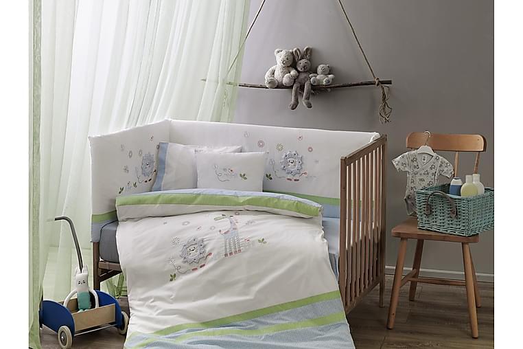 Vuodevaatesetti Taç Baby 9-os Ranforce - Valkoinen/Sininen/Vihreä - Sisustustuotteet - Kodintekstiilit - Vuodevaatteet