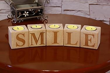 Lämpökynttilänjalka Evila Originals 5:n setti 6 cm SMILE Puu