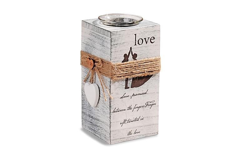 Lämpökynttilänjalka Kosova 8x18 cm Love Puu - Valkoinen - Sisustustuotteet - Sisustusesineet - Kynttilät ja huonetuoksut