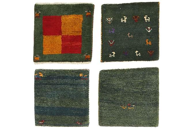 Itämainen matto Gabbeh 40x40 4-pak - Vihreä/Valkoinen - Sisustustuotteet - Matot - Itämaiset matot