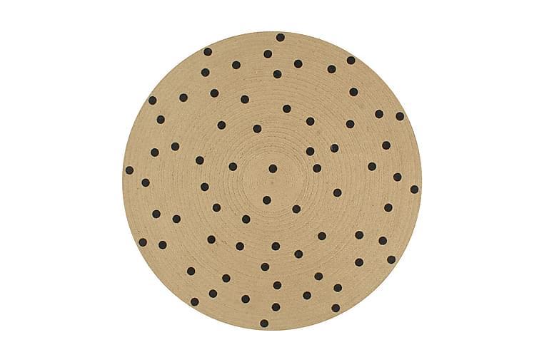 Käsintehty pyöreä juuttimatto polkkapilkkukuviolla 120 cm - Ruskea - Sisustustuotteet - Matot - Sisalmatot