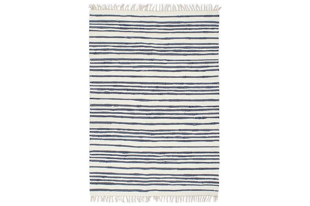 Käsin kudottu chindi-matto 200x290cm sininen & valk. - Sininen - Sisustustuotteet - Matot - Käsintehdyt matot