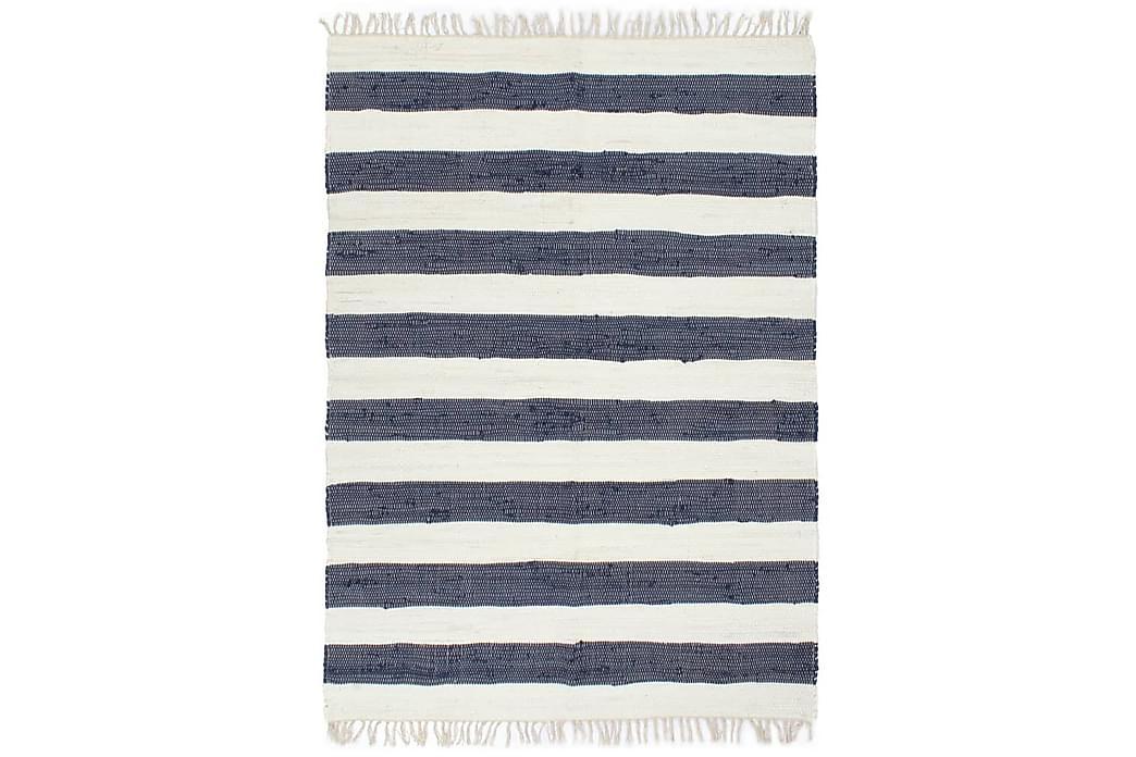 Käsin kudottu chindi-matto 80x160cm sininen/valkoinen - Sininen - Sisustustuotteet - Matot - Käsintehdyt matot
