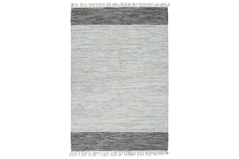 Käsin punottu chindi-matto nahka 160x230 cm harmaa - Harmaa - Sisustustuotteet - Matot - Käsintehdyt matot