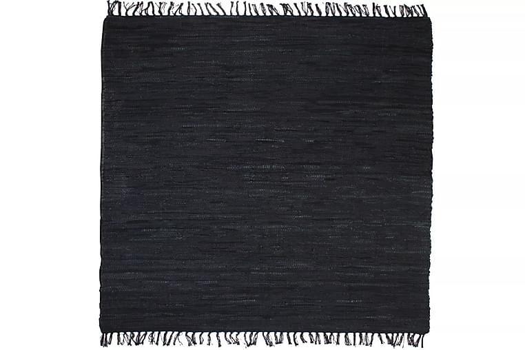 Käsin punottu Chindi-matto nahka 160x230 cm musta - Musta - Sisustustuotteet - Matot - Käsintehdyt matot