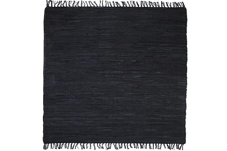 Käsin punottu Chindi-matto nahka 190x280 cm musta - Musta - Sisustustuotteet - Matot - Käsintehdyt matot
