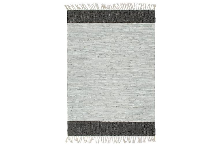 Käsin punottu chindi-matto nahka 80x160cm vaaleanharmaa/must - Harmaa - Sisustustuotteet - Matot - Käsintehdyt matot