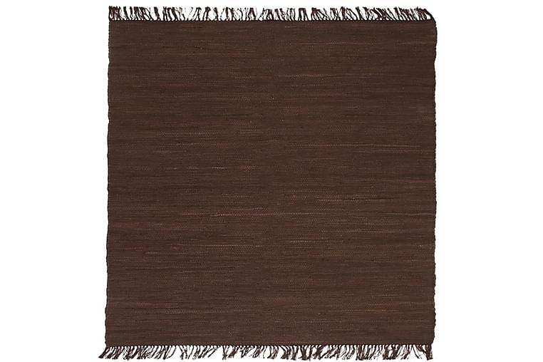 Käsinkudottu Chindi-matto puuvilla 200x290 cm ruskea - Ruskea - Sisustustuotteet - Matot - Käsintehdyt matot