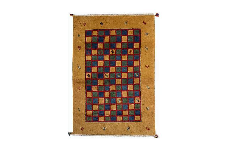 Käsinsolmittu Gabbeh Shiraz Villa Sinappi/Sininen 118x175cm - Sisustustuotteet - Matot - Itämaiset matot