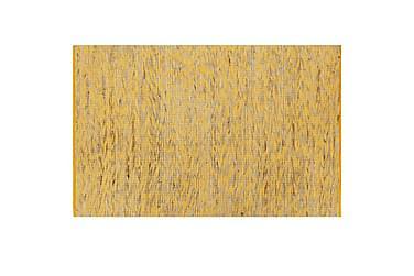 Käsintehty juuttimatto keltainen ja luonnollinen 80x160 cm