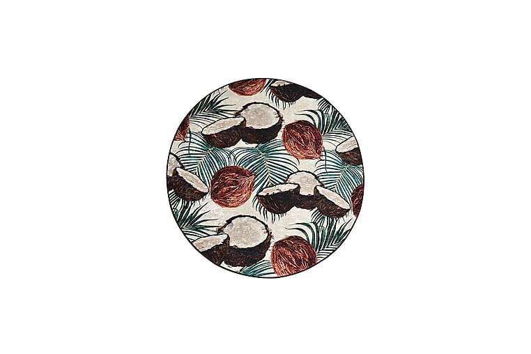 Matto Coconut Pyöreä 140 cm - Monivärinen / Sametti - Sisustustuotteet - Matot - Kuviolliset matot