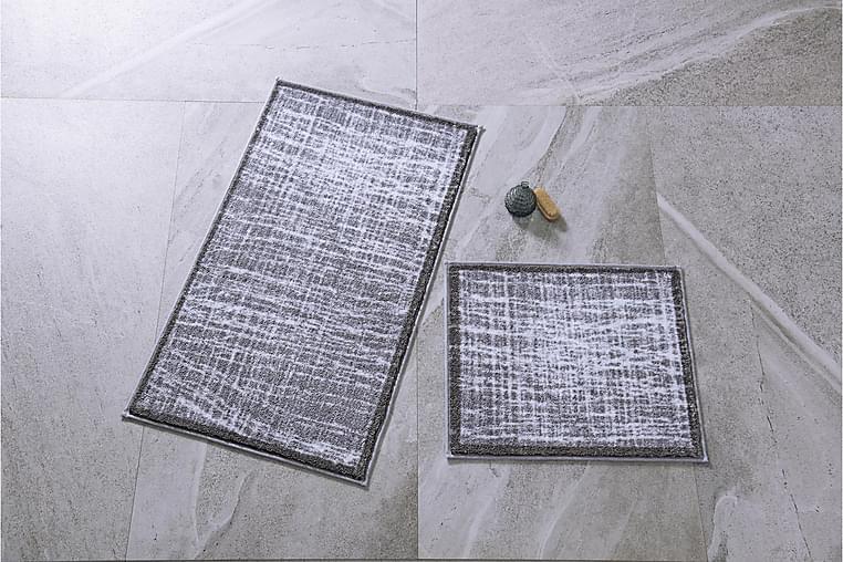 Kylpyhuonematto Penmon 2 kpl - Harmaa/Valkoinen - Sisustustuotteet - Kodintekstiilit - Kylpyhuoneen tekstiilit