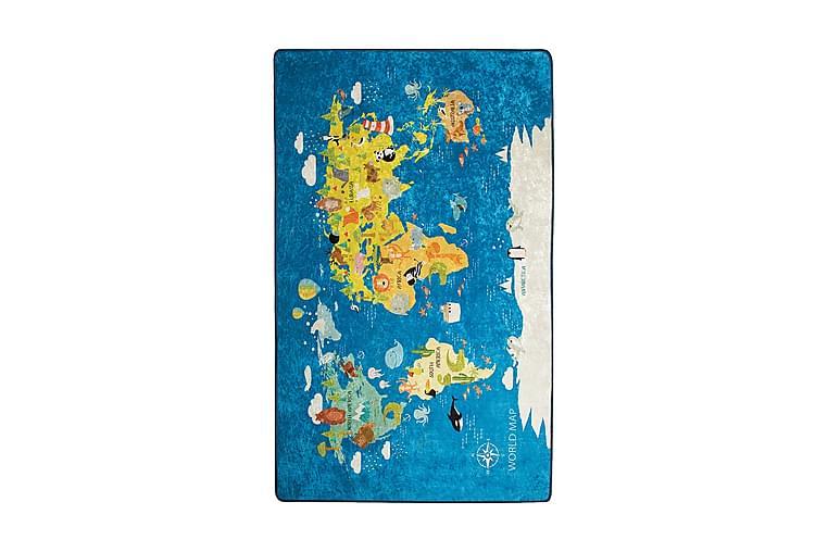 Lastenmatto Worldmap 100x160 cm - Monivärinen / Sametti - Sisustustuotteet - Matot - Lasten matot