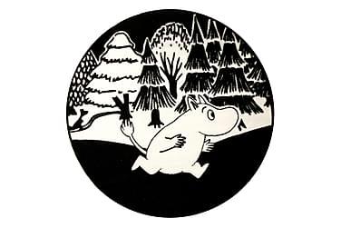 Muumi-matto pyöreä 100cm, musta-valkoinen