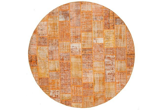 Patchworkmatto Black & White Pyöreä 391 Suuri Moderni - Oranssi - Sisustustuotteet - Matot - Patchwork-matot