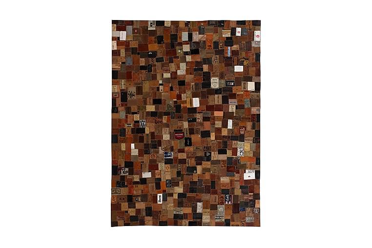 Tilkkumatto farkkujen merkkilapuista aito nahka 80x150cm - Ruskea - Sisustustuotteet - Matot - Taljat ja nahkamatot