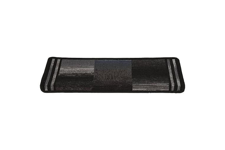 Itsekiinnittyvät porrasmatot 15 kpl 65x25 cm musta ja harmaa - Sisustustuotteet - Matot - Porrasmatot