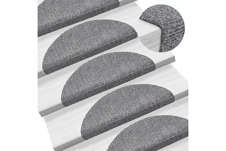 Itsekiinnittyvät porrasmatot 15kpl neulahuopa 54x16x4cm - Harmaa - Sisustustuotteet - Matot - Porrasmatot