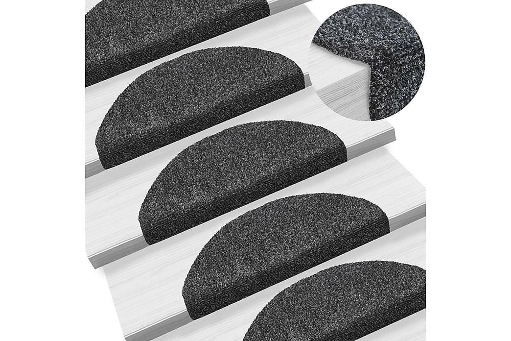 Itsekiinnittyvät porrasmatot 15kpl neulahuopa 65x21x4cm - Harmaa - Sisustustuotteet - Matot - Porrasmatot