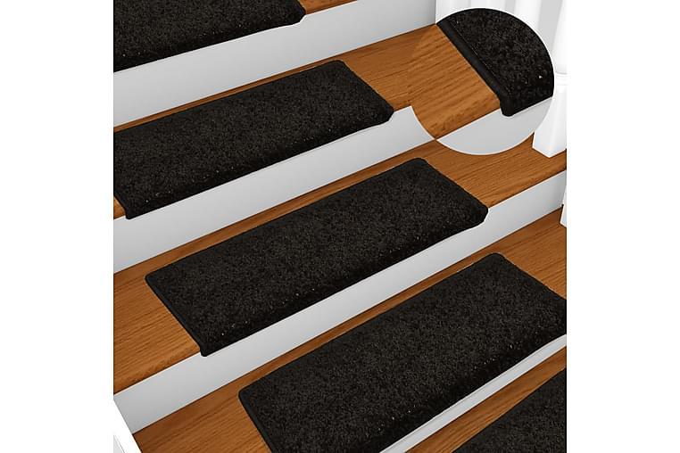 Porrasmatot 15 kpl 65x25 cm musta - Musta - Sisustustuotteet - Matot - Porrasmatot