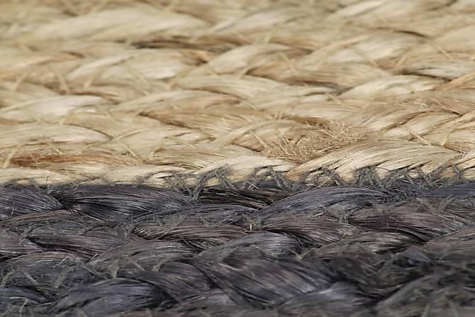 Käsintehty juuttimatto tummanharmaalla reunalla 150 cm - Harmaa - Sisustustuotteet - Matot - Pyöreät matot
