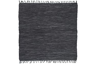 Käsin punottu Chindi-matto nahka 120x170 cm harmaa