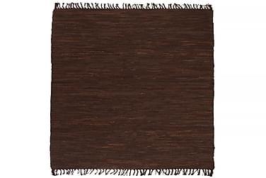Käsinpunottu Chindi-matto nahka 160x230 cm ruskea