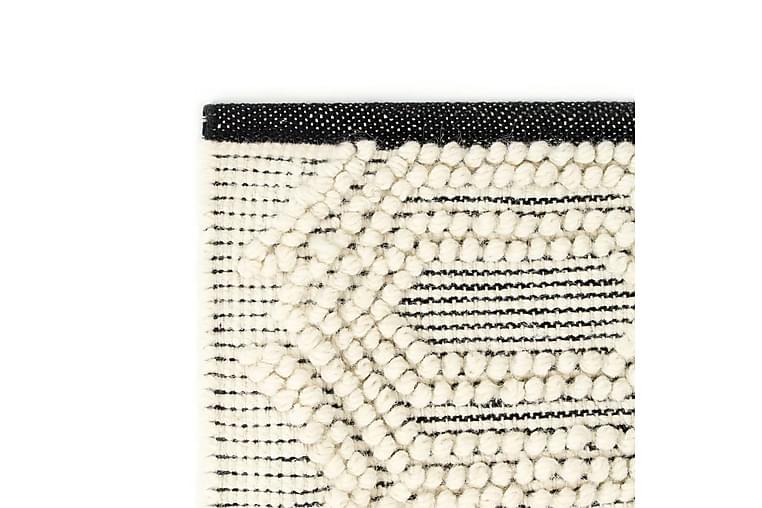 Matto käsinkudottu villa 140x200 cm mustavalkoinen - Valkoinen - Sisustustuotteet - Matot - Villamatot