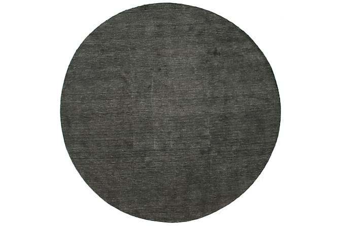 Suuri Pyöreä matto Handloom Ø300 - Musta | Harmaa - Sisustustuotteet - Matot - Yksiväriset matot