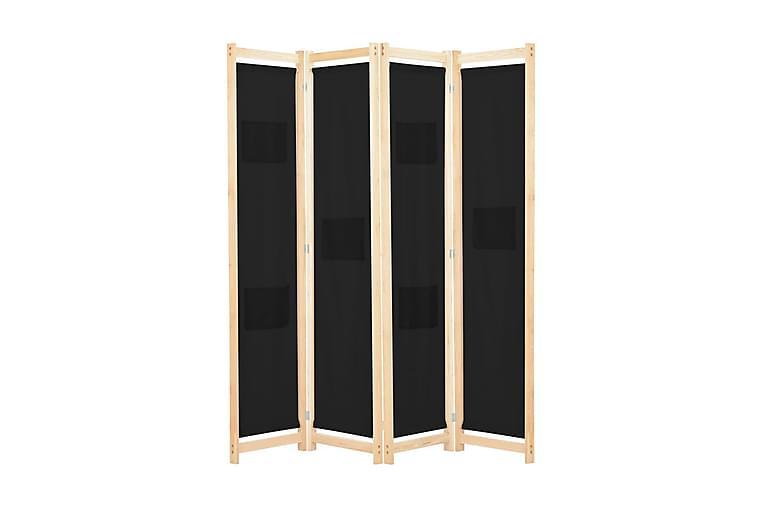 4-Paneelinen Tilanjakaja musta 160x170x4 cm kangas - Musta - Sisustustuotteet - Pienet kalusteet - Tilanjakajat & sermit