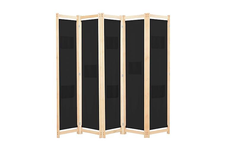 5-Paneelinen Tilanjakaja musta 200x170x4 cm kangas - Musta - Sisustustuotteet - Pienet kalusteet - Tilanjakajat & sermit