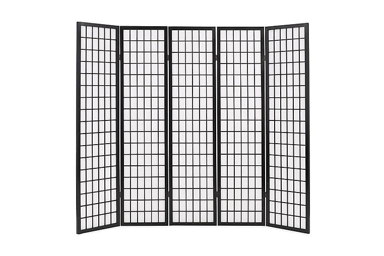 Tilanjakaja 5 paneelia japanilaistyylinen 200x170cm musta - Musta - Sisustustuotteet - Pienet kalusteet - Tilanjakajat & sermit
