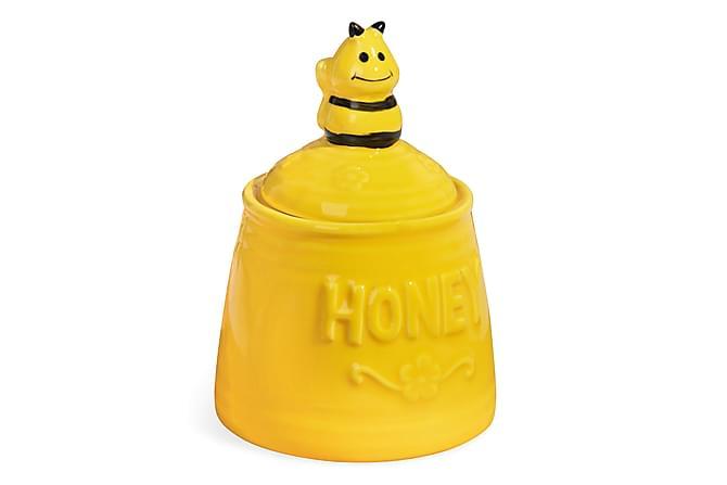 Ruukku Kosova kannella 14 cm Istuva mehiläinen Keramiikka - Keltainen/Musta - Sisustustuotteet - Ruukut & maljakot - Ruukut