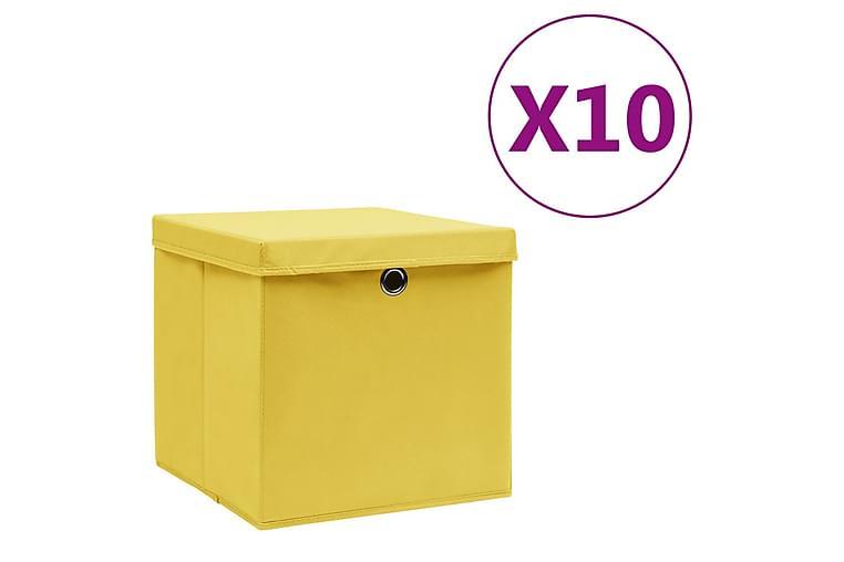 Säilytyslaatikot kansilla 10 kpl 28x28x28 cm keltainen - Keltainen - Sisustustuotteet - Sisustuslaatikot & korit - Laatikot