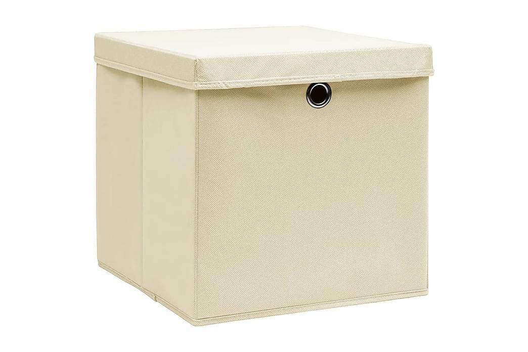 Säilytyslaatikot kansilla 10 kpl 28x28x28 cm kerma - Kerma - Sisustustuotteet - Sisustuslaatikot & korit - Laatikot