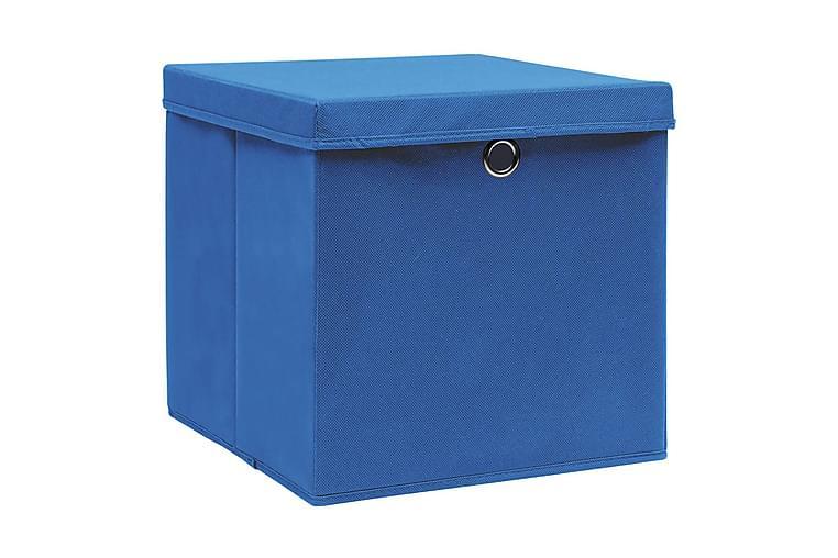 Säilytyslaatikot kansilla 10 kpl 28x28x28 cm sininen - Sininen - Sisustustuotteet - Sisustuslaatikot & korit - Laatikot