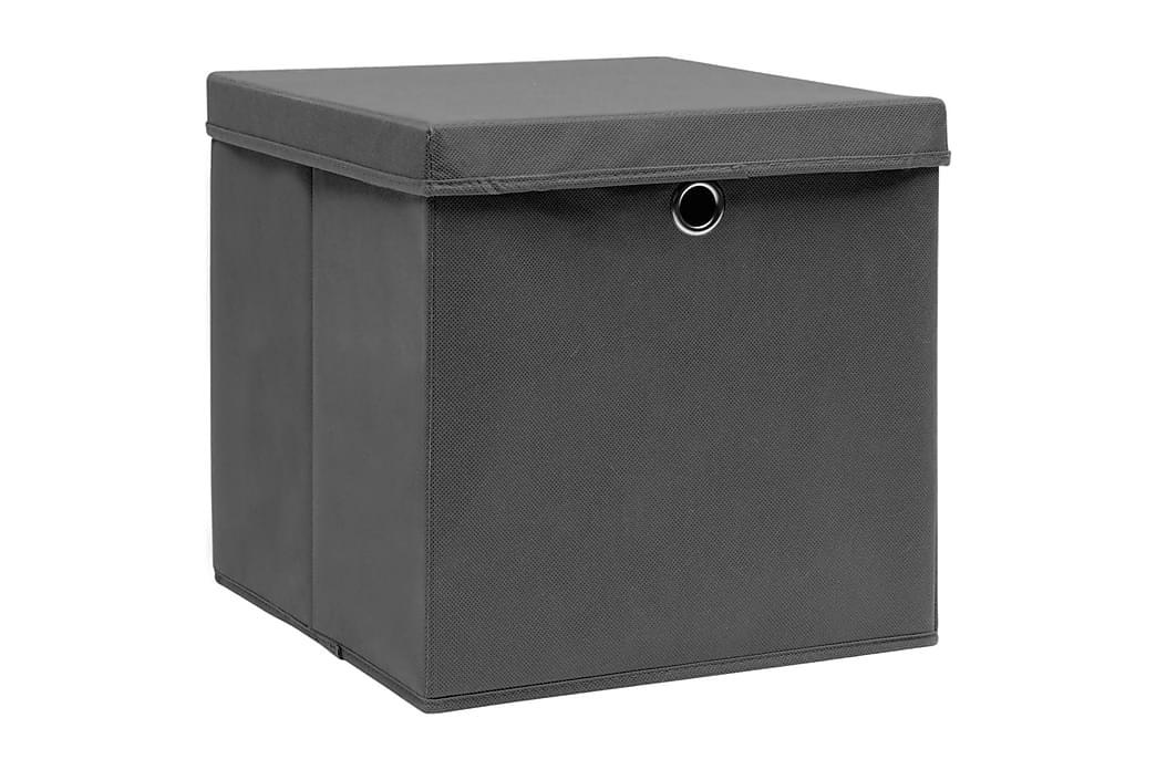 Säilytyslaatikot kansilla 4 kpl 28x28x28 cm harmaa - Harmaa - Sisustustuotteet - Sisustuslaatikot & korit - Laatikot