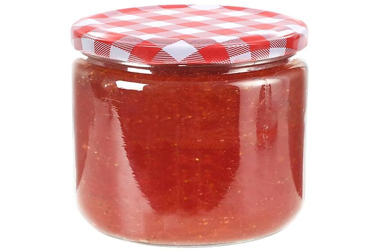 Lasiset hillopurkit valkopunaisilla kansilla 48 kpl 230 ml - Punainen - Sisustustuotteet - Sisustuslaatikot & korit - Piensäilytys
