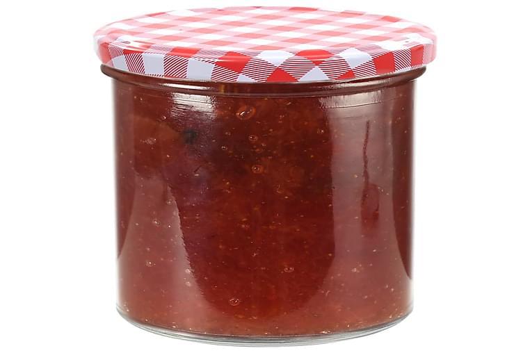 Lasiset hillopurkit valkopunaisilla kansilla 96 kpl 400 ml - Punainen - Sisustustuotteet - Sisustuslaatikot & korit - Piensäilytys