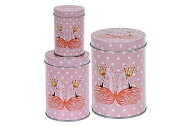 Purkki Gillian Flamingo Pyöreä Täplikäs 3:n setti