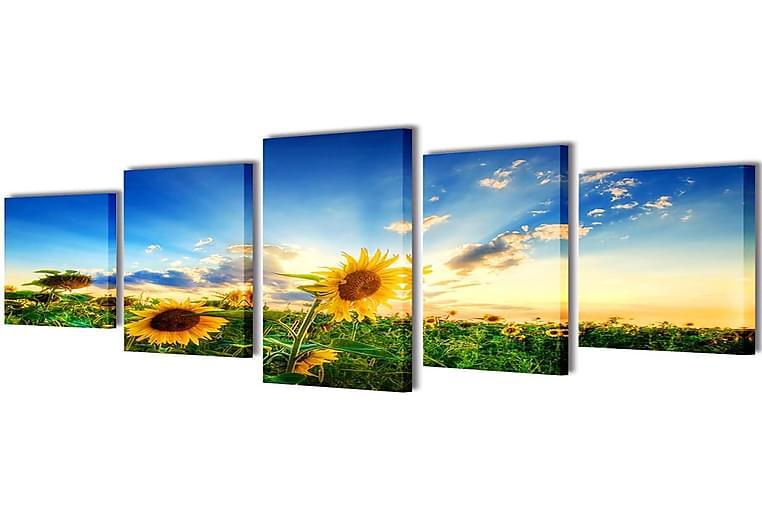 Taulusarja Auringonkukka 200 x 100 cm - Monivärinen - Sisustustuotteet - Seinäkoristeet - Canvas-taulut