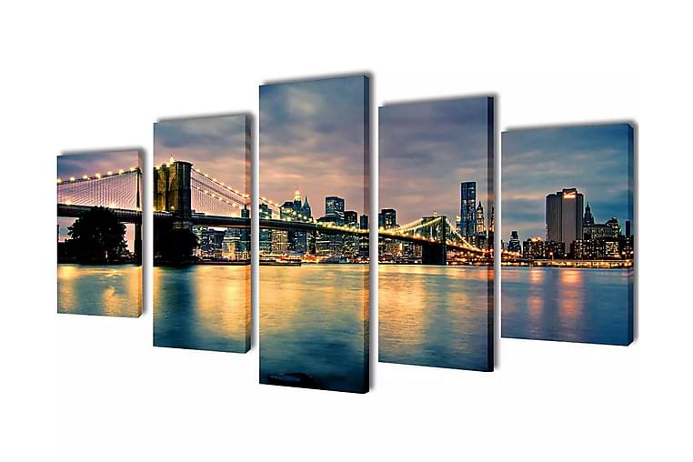 Taulusarja Brooklynin Silta Jokimaisema 200 x 100 cm - Monivärinen - Sisustustuotteet - Seinäkoristeet - Canvas-taulut